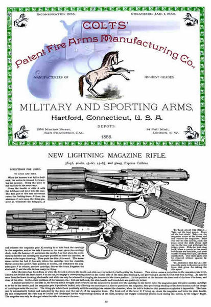 Colt 1888 Patent Fire Arms Catalog