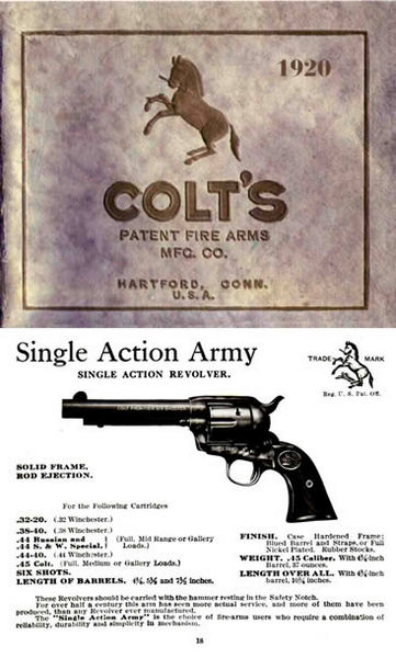 Colt 1920 Patent Fire Arms Catalog