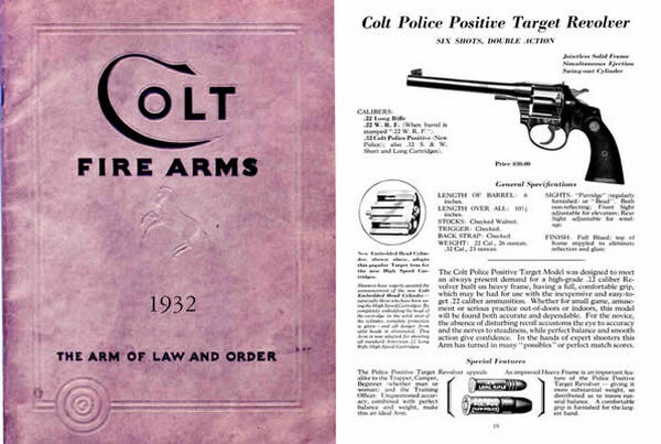 Colt 1932 Patent Fire Arms Catalog
