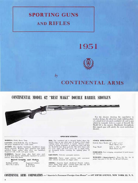 Continental Arms 1951 Catalog (Belgium)