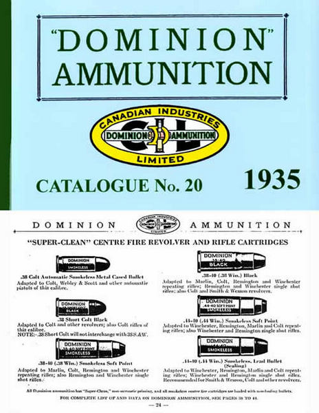 Dominion Ammunition 1935 Catalogue No. 20 (Canada)