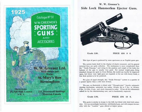 WW Greener 1925 Sporting Goods and Arms Catalog