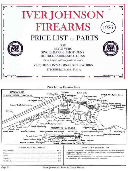 Iver Johnson 1926 Revolvers and Guns Parts and Price List Catalog