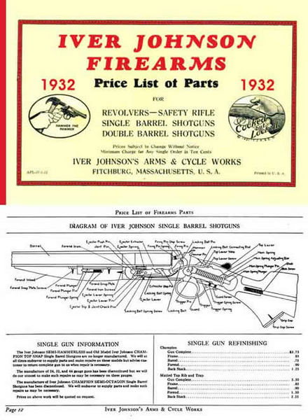 Iver Johnson 1932 Component Parts Catalog