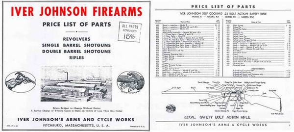 Iver Johnson 1948 Parts and Price Catalog