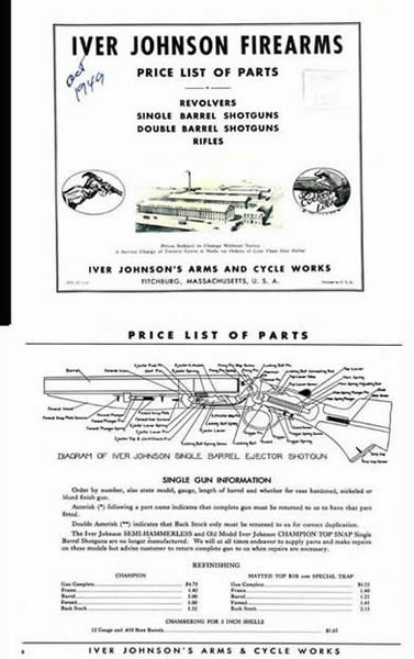 Iver Johnson 1949 Parts and Price Catalog