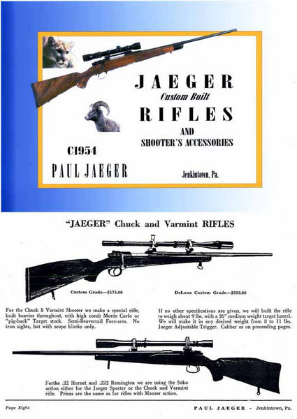 Jaeger Custom Built Rifles and Accessories c1954 Catalog Jenkintown, PA
