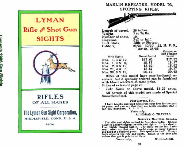 Lyman 1906 Sights Catalog