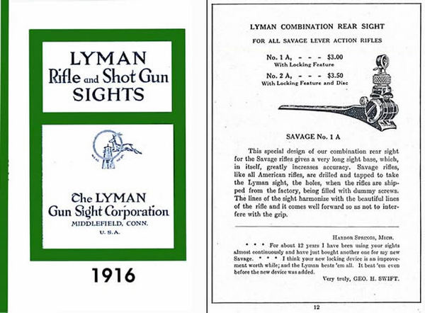 Lyman 1916 Sights Catalog