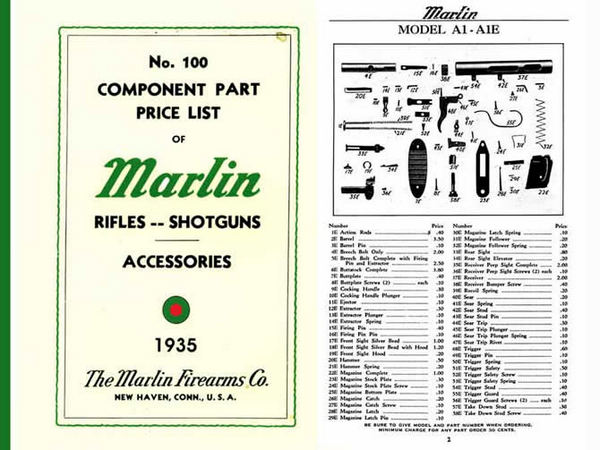 Marlin 1935 Rifles and Shotguns - Component Parts Catalog