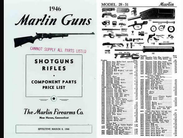 Marlin 1946 Rifles and Shotguns - Component Parts Catalog
