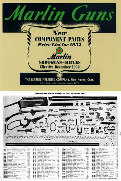 Marlin 1952 Rifles and Shotguns - Component Parts Catalog