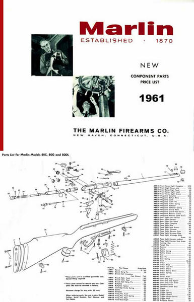 Marlin 1961 Component Parts Gun Catalog