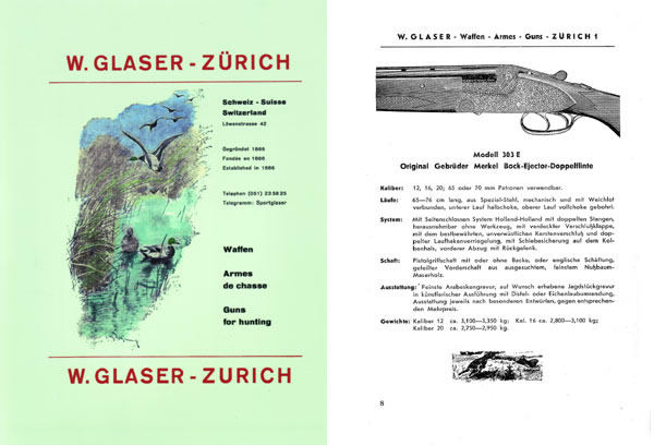 Merkel c1956 Guns for Hunting W. Glaser Catalog