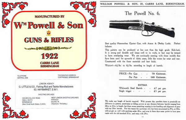 William Powell Guns and Rifles 1922 Carrs Lane, Birmingham, England