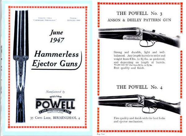 William Powell Gun Catalog 1947 Birmingham, England