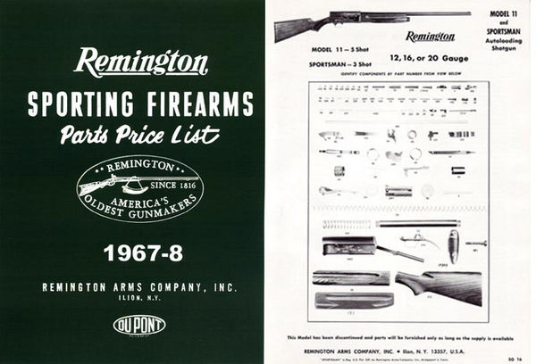 Remington 1967-8 Firearms Parts Catalog