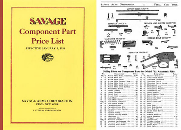 Savage 1924 Component Parts Catalog