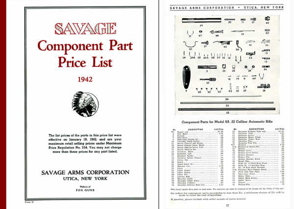 Savage 1942 Component Parts Catalog