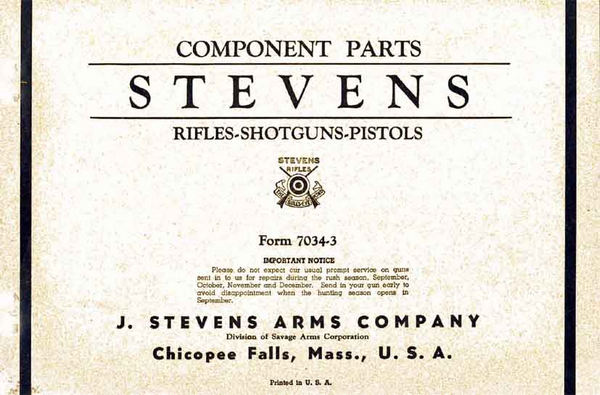 Stevens c1940 Rifle Shotgun Pistol Component Part Catalog