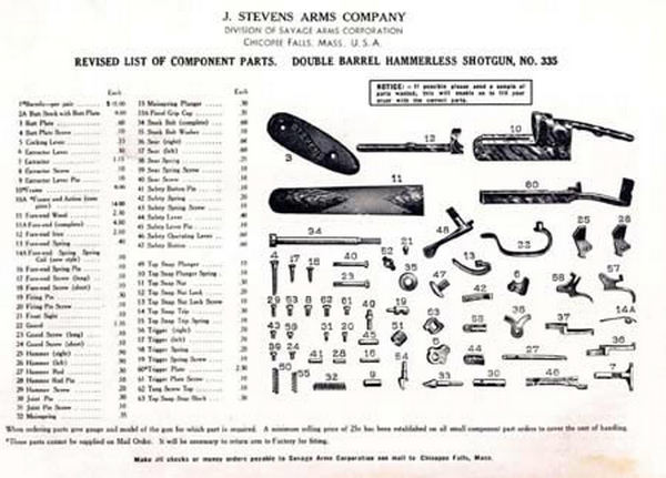search results stevens 520 parts list html