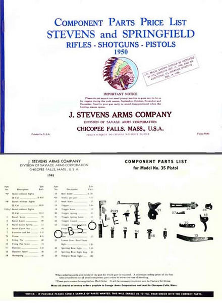 Stevens 1950 Component Parts Price List Catalog