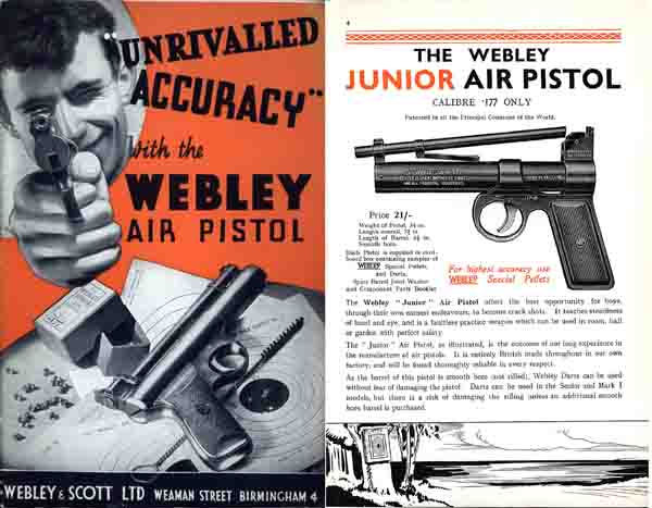 Webley & Scott 1939 Air Pistols and Rifles Catalog