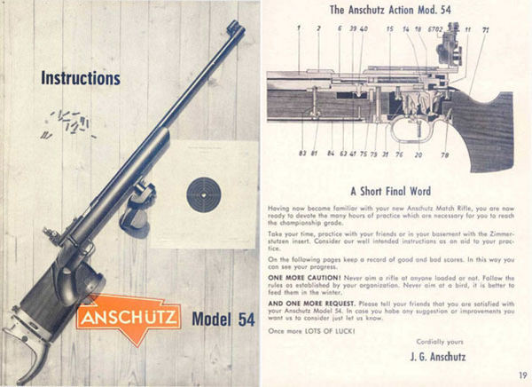 Anschutz Model 54 Match Instruction Manual c1963