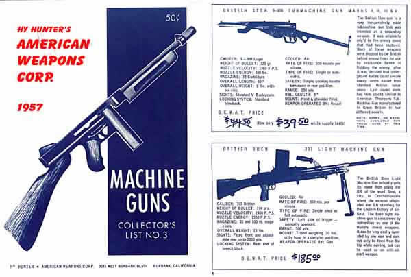 Hy Hunter's American Weapons Corp. 1957 Machine Gun Catalog
