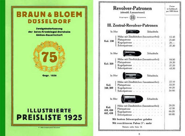 Braun & Bloem 1925 Munitions (German)