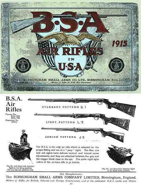BSA 1915 Air Guns in USA Catalog