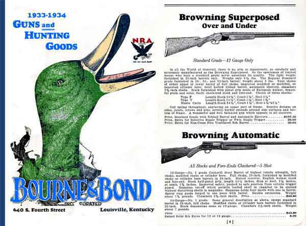 Guns and Hunting Catalog, Bourne & Bond 1933 (Louisville, KY)