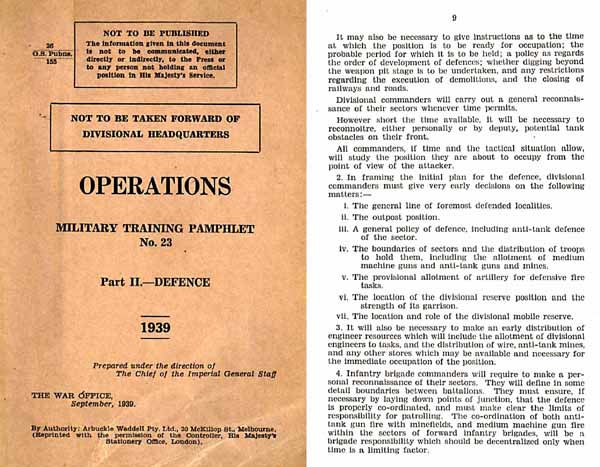 Military Training Pamphlet No. 23 Operations - Defense 1939- Manual