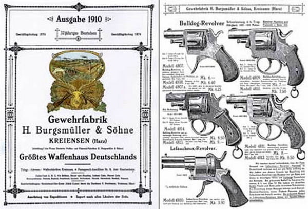 H. Burgsmuller & Sohne (German) 1910 Gun, Rifle & Pistol Catalog