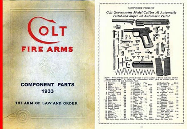 Colt 1933 Fire Arms Component Parts Catalog