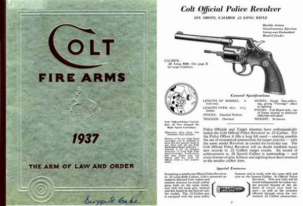 Colt 1937 Fire Arms Gun Catalog