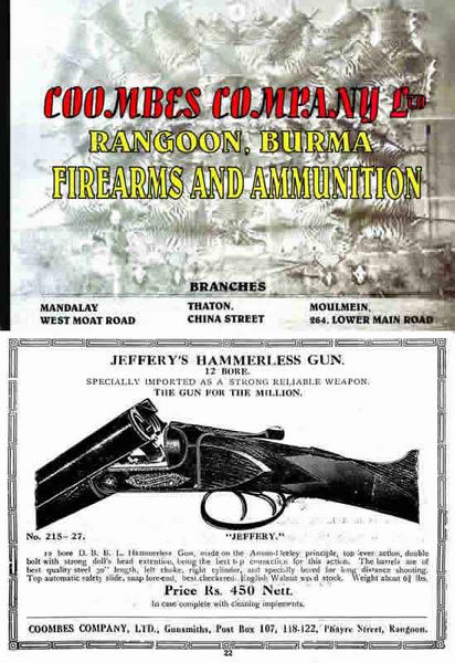 Coombes Company Ltd., Rangoon, Burma-Guns, Firearms and Ammunition c1925 Catalog