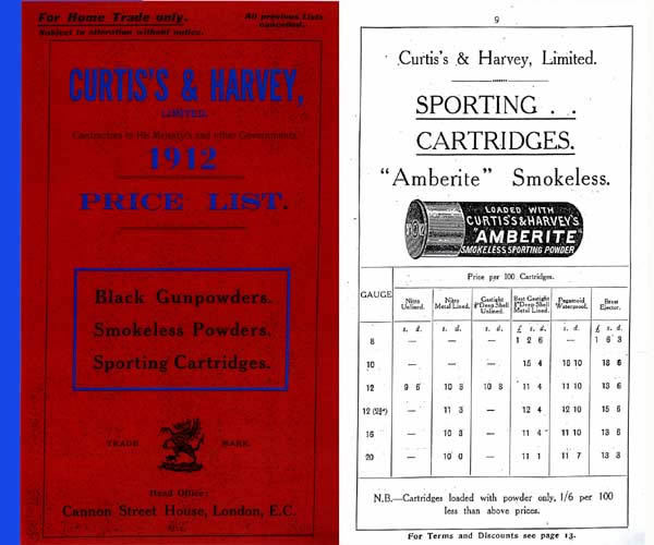 Curtis's & Harvey Ltd. ( UK ) 1912 Gun Ammunition Catalogue