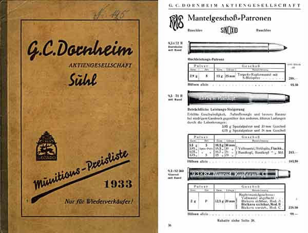 Dornheim Munitions 1933 Preislieste Catalog