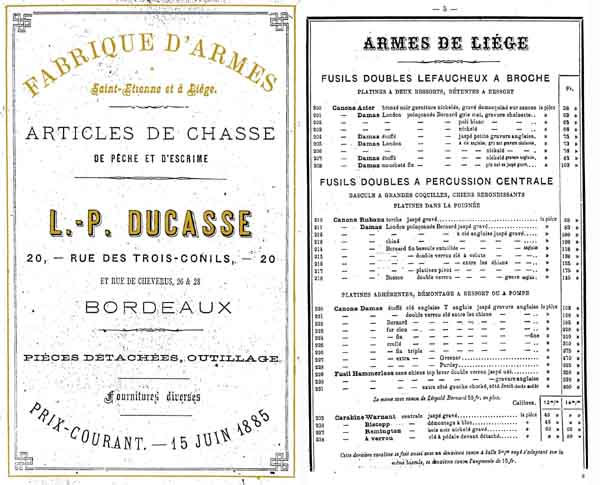 Ducasse 1885 Gun and Sport Catalog