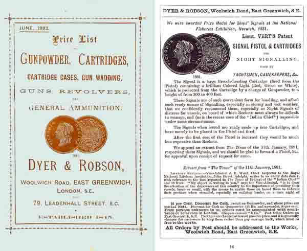 Dyer and Robson 1882 Gun Accessory Catalog, London, UK