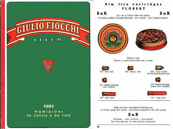 Fiocchi 1951 Ammunition (Italian) Catalog
