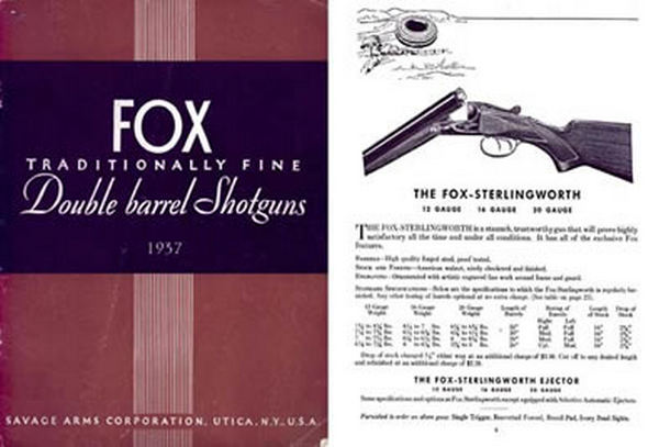 AH Fox 1937 Double Barrel Shotguns Catalog