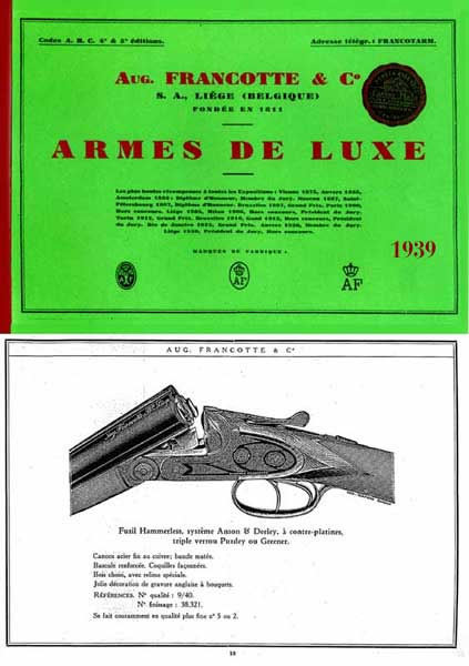 Francotte, Aug. Les Fusils Catalogue 1939