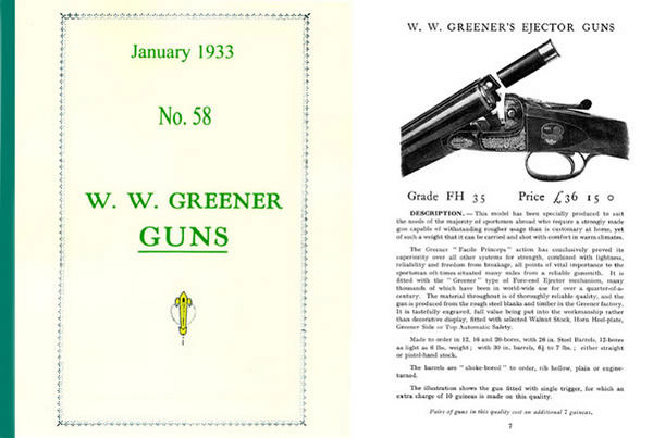 WW Greener 1933 Gun & Access Catalogue # 58 January