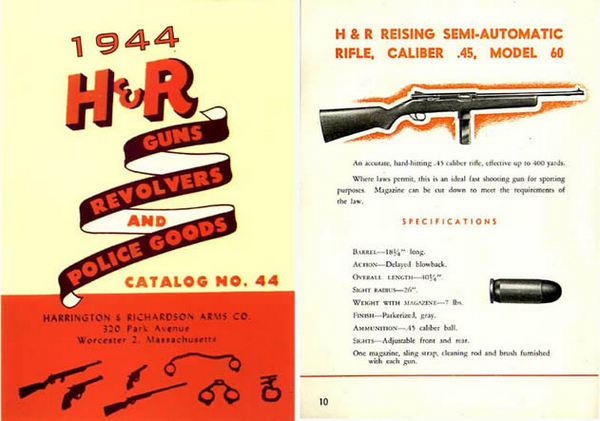 Harrington & Richardson Arms 1944 Gun, Revolver & Reising Mod 60 & 65 Catalog