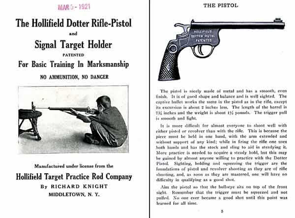 Hollifield Dotter 1921 Catalog of Rifle-Pistol Signal Target Holder For Basic Training In Marksmanship