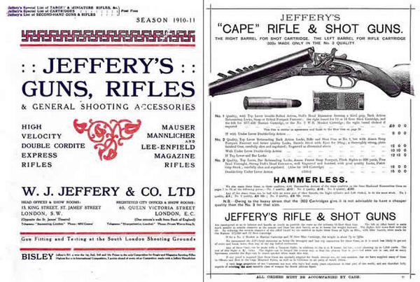 Jeffery 1910-1911 Gun, Rifle and Accessory Catalog (UK)