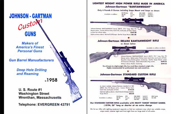 Johnson-Gartman Custom Guns c1958 Catalog