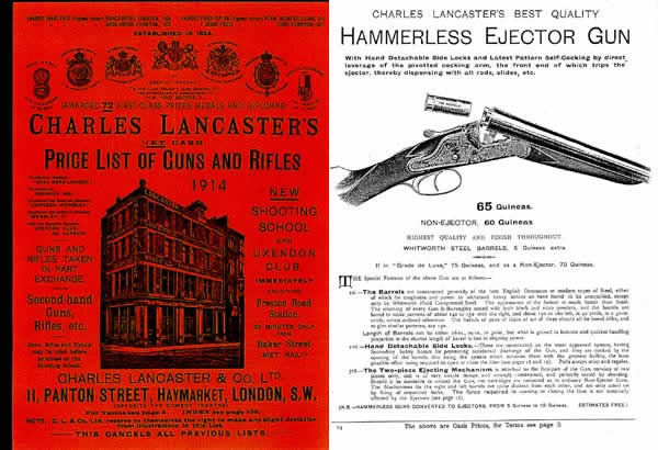 Charles Lancaster's Price List of Gun & Rifle 1914 Catalog